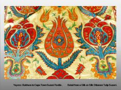 Bukhara to Cape Town Suzani Textiles Detail from a Silk on Silk Ottoman Tulip Suzani, lined in Silk / 145 x 200 cm