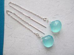 Threader/Ear Thread Aqua Chalcedony Drop by DorielleChakravorty, $28.95