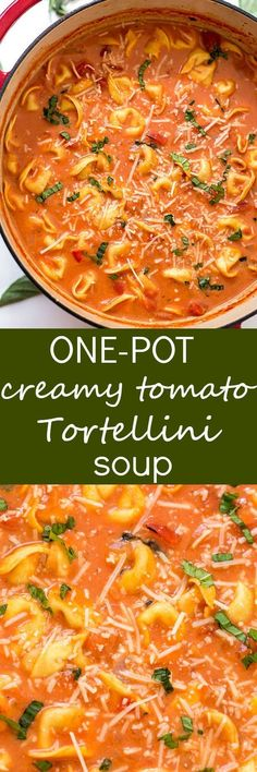 One-Pot Creamy Tomato Tortellini Soup Recipe - The EASIEST homemade creamy tomato tortellini soup made from scratch! Loaded with fresh herbs, diced tomatoes, and three-cheese tortellini! So easy you can even make it in your slow cooker! #homemadevegetablesoup