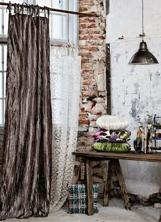cool use of window covering and exposed brick - distressed rustic Industrial Living, Industrial Chic, Industrial Revolution, Industrial Office, Industrial Design, Rustic Luxe, Workspace Inspiration, Curtains With Blinds, Exposed Brick