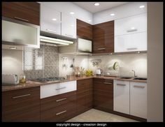 Luxury Modular Kitchens Interior Design by Deepanshu Prasad L Shaped Modular Kitchen, L Shaped Kitchen Designs, Kitchen Cupboard Designs, Kitchen Room Design, Modern Kitchen Cabinets, Home Room Design, Home Decor Kitchen, Interior Design Kitchen, Wooden Cabinets
