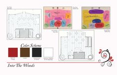 Lost Woods: Artisan Cafe & Book Store-This is a page from my portfolio showing the floor plans, block diagrams and color scheme in the Lost Woods.