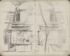 George Hendrik Breitner | Pui van een winkel op de Nieuwendijk te Amsterdam, George Hendrik Breitner, c. 1894 | Pagina 15 en pagina 16 uit een schetsboek met 31 bladen.
