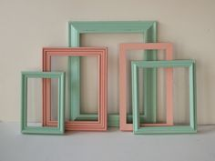 Picture Frames Vintage Wood Painted Aqua And Coral Pink Cottage Chic Modern Colors Gallery Wall Home Decor Teen Baby Child Nursery. $54.00, via Etsy.