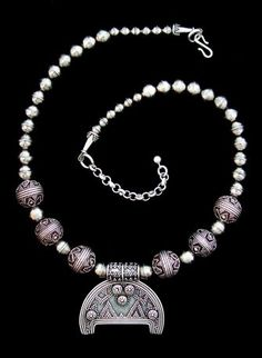 """Birka Lunik Necklace, Granulated Birka Lunik and Beads Approx. 15 1/2"""" to 17 1/2"""" long One-of-a-kind Piece  Sterling Silver ... $295"""