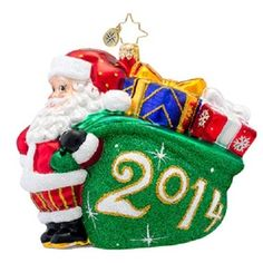Christopher Radko 2014 Dated A JOLLY YEAR Santa Christmas ornament NEW free USA shipping.