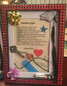 Keepsakes of hope! The perfect DIY graduation gift in a decorated picture frame for someone moving away or someone just needing an emotional boost from a friend who cares.
