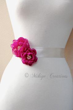 Wedding Sash Accessories, Bridesmaid Accessories, Bridal Chiffon Hair Flowers, Wedding Hair Clips, Bridal Accessories - In Magenta Chiffon. $39.00, via Etsy.