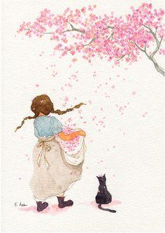 Illustration by s. Art And Illustration, Illustrations Posters, Anime Kunst, Anime Art, Whimsical Art, Belle Photo, Cat Art, Art Girl, Illustrators