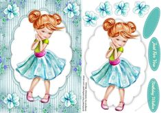 - A lovely card for any teenager to receive on her birthday in Aqua has two greeting tags and a blank one Decoupage Paper, Quick Cards, Princess Zelda, Disney Princess, Kids Cards, Girl Birthday, Disney Characters, Fictional Characters, Aqua