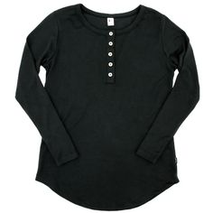 Women's Long Sleeve Henley|Black Introducing our new Women's Long Sleeve Henley Shirt in the classic black colourway! This new style features a scoop hem in an extra long length that makes it a perfect pairing for leggings! Your new, go-to cozy outfit! Details: Fabric - 66% Rayon from Bamboo, 28% Cotton, 6% Spandex Women's Henley, Henley Shirts, Kids Overalls, Rompers For Kids, Cotton Leggings, Long Sleeve Henley, Pajamas Women, Clothing Co, Elena Gilbert