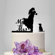 Funny wedding cake topper, dog cake topper, Mr&Mrs cake topper, groom and bride silhouette cake topper, personalize Acrylic cake topper Funny Wedding Cakes, Funny Wedding Cake Toppers, Personalized Wedding Cake Toppers, Wedding Topper, Birthday Cake Toppers, Birthday Cakes, Silhouette Wedding Cake, Bride And Groom Silhouette, Dog Silhouette