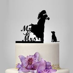 funny wedding cake topper, with pet silhouette, dog mr and mrs topper | walldecal76 - Wedding on ArtFire
