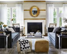 This dramatic living room designed by @matthewquinndesign is going to start off our room redo vote this week! Do you love it? Want to see us take it on (for less)? Vote now by liking this pic. The pic with the most likes wins!  by @trevortondro featured in @housebeautiful #CopyCatChic