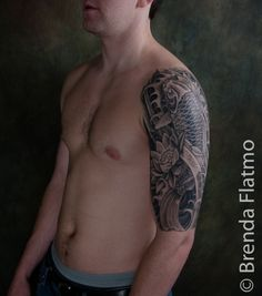 black and grey sleeve tattoos | Koi and lotus half sleeve: healed » Brenda Flatmo Tattoo and Art