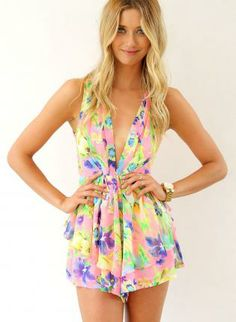 Neon Print Mini Playsuit with Plunge Neck & Frill Detail,  Other, printed romper  sleeveless  v-neck, Chic