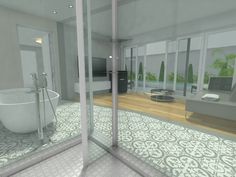 A glass shower enclosure belongs in a contemporary bathroom design. Contemporary Style Bathrooms, Glass Shower Enclosures, Bathroom Styling, Clutter, Create Yourself, Minimalism, Furniture, Home Decor, Decoration Home