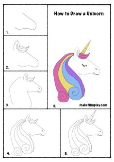 Drawing Lessons For Kids, Easy Drawings For Kids, Unicorn Kids, Unicorn Art, Funny Unicorn, Painting For Kids, Art For Kids, Unicorn Drawing, How To Draw Unicorn