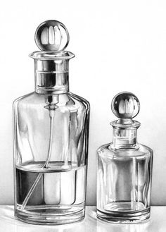 Original Still Life Drawing by Cath Riley Photorealism Art on Paper Glass bottles Still Life Sketch, Still Life Drawing, Still Life Art, Still Life Pencil Shading, Glass Bottles, Perfume Bottles, Bottle Drawing, Bottle Painting, Observational Drawing