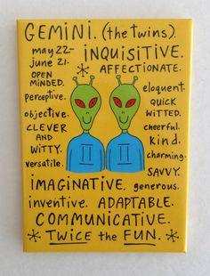 Horoscope Fridge Magnet GEMINI Funny Novelty Birthday Gag Gift *Positive* NEW