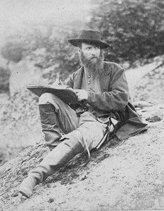 News artist Alfred Rudolph Waud with his sketchbook near Gettysburg during the civil war.