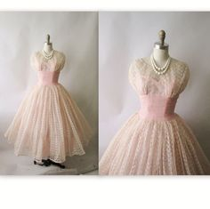 Vintage 1950's Embroidered Pink Tulle Party Dress