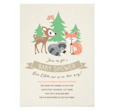 A Woodland Friends Baby Shower Invitation Card with a cute cartoon deer, racoon and fox in a forest setting. View this and more Baby Shower invitation cards.