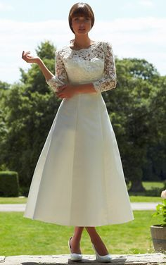 sweetheart tea length wedding dresses with Red detailing and cap sleeves - Google Search