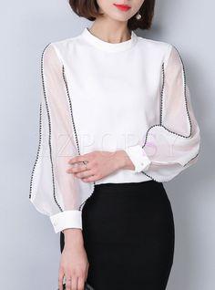 Brief Puff Sleeve Stand Collar Patchwork Blouse – Kleidung Fashion Details, Look Fashion, Hijab Fashion, Korean Fashion, Fashion Dresses, Fashion Tips, Fashion Design, Cheap Fashion, Street Fashion