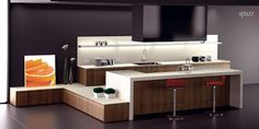 interesting island, 'step up', wood  #contemporary #kitchen #cabinets #design  by SPAZZIUSA #NewYork