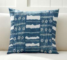 Shibori Pottery Barn outdoor pillow in blue