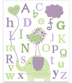 Purple and Green Nursery Art Alphabet by SweetPeaNurseryArt, $15.00
