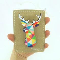 Geometric Deer Brooch Neon 'Stag Head'. £9.50, via Etsy.