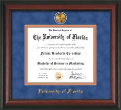 University of Florida Diploma Frame - UF Gators - with hardwood moulding and 24k Gold-Plated UF medallion.  Also features blue suede on orange mats and UV glass to protect your investment from fading over time.  And to keep those memories as alive as the day you earned them! Go Gators!