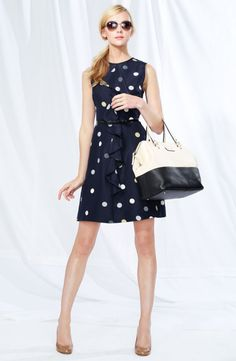 I love all things navy blue and while the dress is cute, that HANDBAG is begging to come live w/ me.