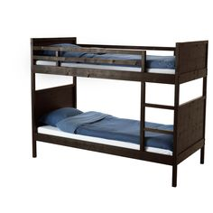 NORDDAL Bunk bed frame - IKEA Can be divided into two single beds. The ladder mounts on the right or the left side of the bed. $299