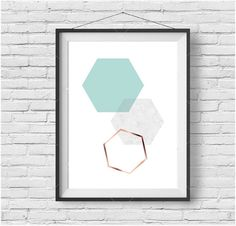 Mint Print Mint Wall Art Turquoise Poster Turquoise Print Scandinavian Print…