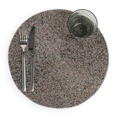 Perle - Set da tavola rotondo color ematite D 33 cm