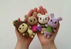 Tiny Critter ( Bunny, Bear and Turtle) - Free Amigurumi Pattern here: http://www.amidorablecrochet.ca/2015/01/tiny-critter-patterns.html