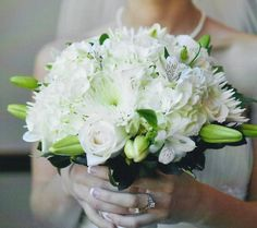 Classic White Bouquet: Hydrangeas, mums,roses, lilies