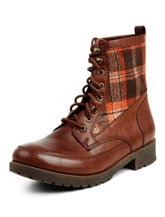 Black Check Panel Lace Up Boots