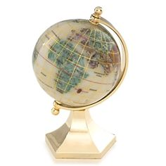 This Opal 3-inch gemstone globe with contempo gold stand is a perfect accent piece to any home or office. Included is a gift box, making it just as easy to gift as it is to keep for yourself. #floorstandingglobes #rotatingglobes #papwerweightglobes #Kalifanobookendglobes #gemstoneglobes #worldglobes