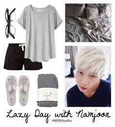 """""""Lazy Day with Namjoon"""" by btsoutfits ❤ liked on Polyvore featuring Falke, Organic by John Patrick, Retrò and Novelty"""