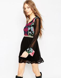 8361d496718 ASOS Skater Dress with Embroidered Front Detail at asos.com
