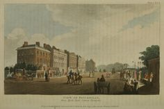 Piccadilly from Hyde Park Corner Turnpike, from Ackermann's Repository, 1810 London Life, London Street, Jane Austen, Victorian History, Victorian London, Vintage London, 19th Century England, Hyde Park Corner, London History