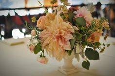 cafe au lait dahlia and herbs centerpiece by Finch and Thistle