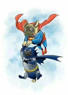 Super Pug and Bat Pug? www.JoinThePugs.com #PugPower - Google+