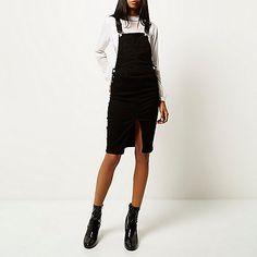 Robe chasuble noire minimaliste style salopette - Robes t-shirt et robes de jour - Robes - femme