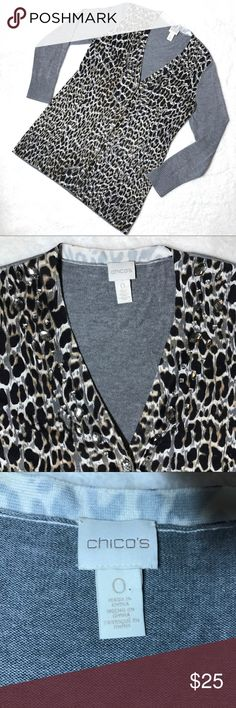 """Chicos Gray Leopard Print Jeweled Cardigan 0 Small Chicos Gray Leopard Animal Print Jeweled V Neck Button Down Cardigan SZ 0 Small  *Great Used Condition!  Measurements: 36"""" Bust 29"""" Length Chico's Sweaters Cardigans"""