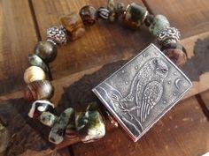 Anne Choi Owl Bracelet Green Opals Chunky Tribal by FeminineGenius